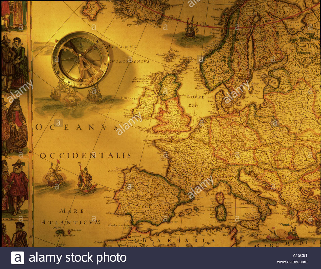 antique map of europe and brass compass A15C91 | Synthetron